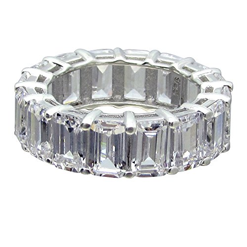 SR01430ST .925 Sterling Silver 9ct Total Step or Emerald Cut CZ Prong Set Eternity Band Ring - Step Cut Cz Ring