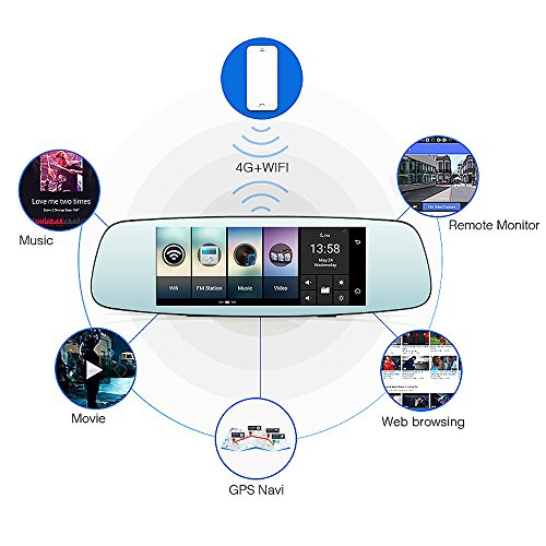 junsun 4G 7'' Dash Cam Car Camera DVR GPS Bluetooth Dual Lens Rearview Mirror Video Recorder Full HD 1080P Automobile DVR Mirror by junsun (Image #1)