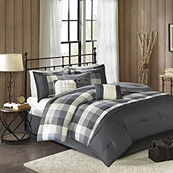 Madison Park Ridge Cal King Size Bed Comforter Set Bed in A Bag - Red, Plaid – 7 Pieces Bedding Sets – Ultra Soft Microfiber Bedroom Comforters MP10-4671