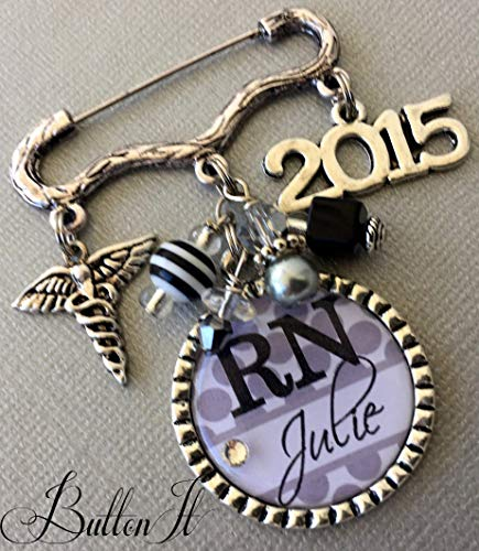Nursing Pinning Ceremony, LPN, LVN, CNA, RN jewelry, Nurse Graduation, personalized gift, RN brooch, Nurse graduate, Class of 2019, caduceus, RN pin, nurse jewelry, gifts for nurse ()