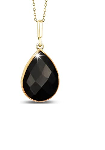 Voss Agin Ladies Genuine Black Onyx Tear Drop Pendant 5.00 CTW in 14K Gold Plated Sterling Silver, 18 Chain W Spring Clasp
