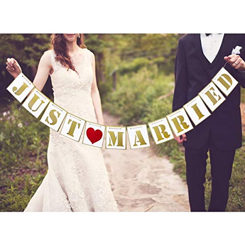 Unomor Just Married Banner for Wedding Decorations Bridal Shower Decor Wedding Photo Props Signs Wedding Gifts