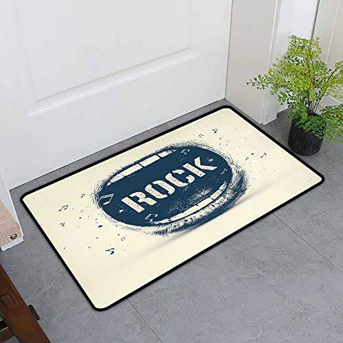 Custom&blanket Non-Slip Door Mat, Rock Music Non-Slip Doormats for Office, Screaming Mouth Musical Elements Flying Notes Rock Music Abstract Pattern (Beige Violet Blue, H36 x W60) -