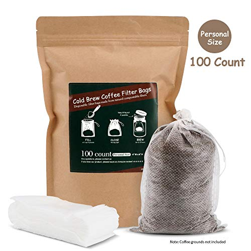 No Mess Cold Brew Coffee Filters - Easy, Single Use Filter Sock Packs, Disposable, Fine Mesh Brewing Bags for Concentrate, Iced Coffee Maker, French/Cold Press Kit, Hot Tea in Mason Jar or Pitcher ()