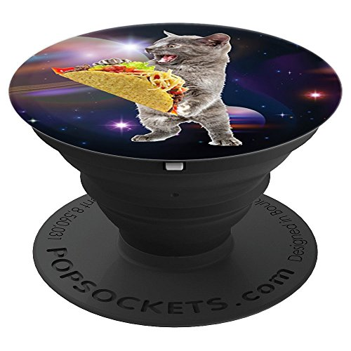 Taco Cat In Space PopSockets Space Cat With Taco - PopSockets Grip and Stand for Phones and Tablets