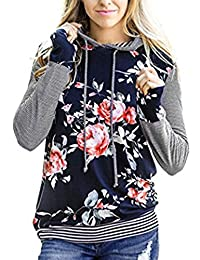 Women's Long Sleeve Hoodie Casual Floral Print Sweatshirt