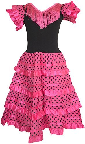 (La Senorita Spanish Flamenco Dress Costume - Girls/Kids - Pink/Black (Size 4-3-4 Years, Pink)