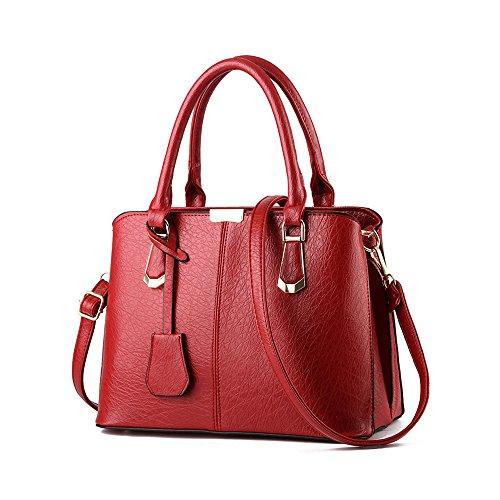 YIJI PU-Leder Frauen Schulter Beutel Handtasche Rot OAZPAc