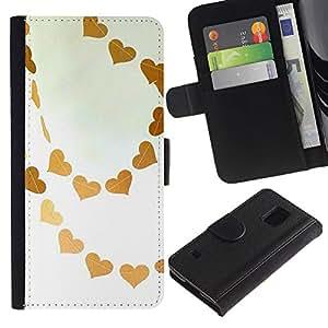 KingStore / Leather Etui en cuir / Samsung Galaxy S5 V SM-G900 / Marrón Cielo Amor blanco del arte