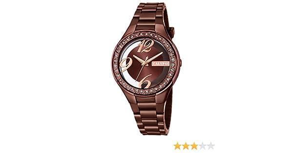 Calypso de mujer reloj de pulsera Fashion Analog PU de pulsera reloj de cuarzo esfera marrón cobre uk5679/A
