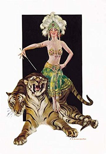 A female trainer sits upon two Bengal tigers From a Life Magazine June 2 1921 cover by FX Leyendecker also known (unfairly) as the Lesser Leyendecker as his brother JC was the more prolific of the tw