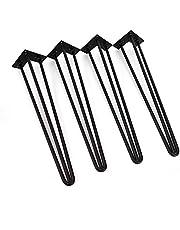 Berkalash 4 stuks 30/60/90 cm stalen tafelpoten, tafel haarspeld stalen poten, 3 stangen, industrieel bureaumeubelpoten, bouwstaallook, zwart (60 cm)