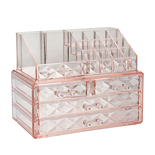 - Jewelry and Cosmetic Boxes with Brush Holder - Pink Diamond Pattern Storage Display Cube Including 4 Drawers and 2 Pieces Set
