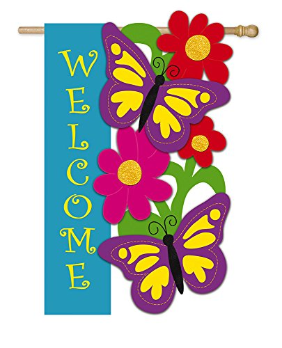 Evergreen Butterfly Welcome Applique House Flag, 29 x 43 (Evergreen Butterfly House)