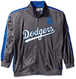 MLB Los Angeles Dodgers Men's Team Reflective Tricot Track Jacket, Charcoal/Royal