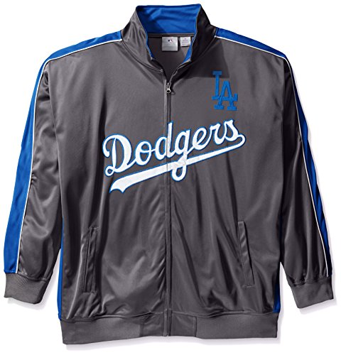 MLB Los Angeles Dodgers Men's Team Reflective Tricot Track Jacket, 2X/Tall, Charcoal/Royal