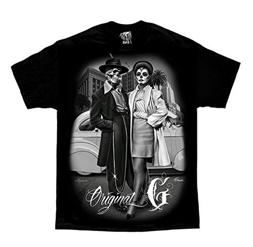 Original G Zoot Suit Cholo Gangster Homies David Gonzales DGA Art Men's T Shirt XXX-Large Black ()