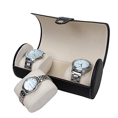 Autoark Leather Roll Traveler's Watch Storage Organizer for 3 Watch and/or Bracelets (Black),AW-006 by Autoark (Image #5)