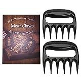 LURICO Bear Meat Claws Pulled Pork Shredder BBQ Meat Handler Forks Shredding Carving Forks for Pork, Chicken, Beef, Turkey- Set of 2 (Black)