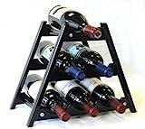 Wine Rack Wood -6 Bottles Hardwood Stand -Black For Sale