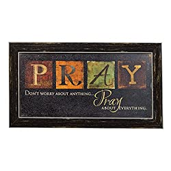 Premium Home Country Inspirational Marla Rae Hanging Wall Art By Besti - Primitive Americana Decorative Plaque – Rustic Style Décor Sign With Saying – Excellent Quality Polystyrene (Pray)