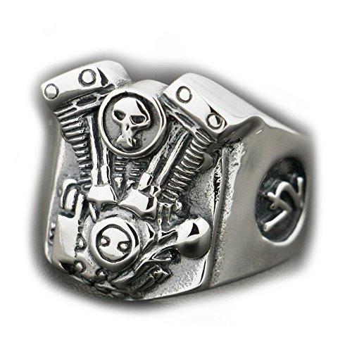 V2 Skull Motorcycle Engine 925 Sterling Silver Mens Biker Ring 8Y009 US 7 to 14 (12.5)