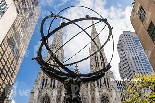 Atlas Statue & St Patricks Cathedral, Rockefeller Center, Rock Center, Art Print, Wall Decor, Black and White, New York City Photograph, Sizes Available from 5x7 to 20x30. (Center Rockefeller Artwork)
