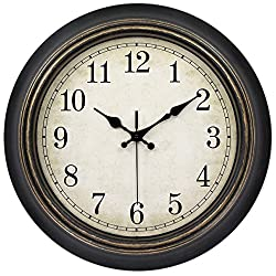 45Min 14-Inch Round Classic Clock, Silent Non-Ticking Retro Quartz Decorative Wall Clock (Black-Gold)