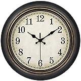 45Min 14-Inch Round Classic Clock, Silent Non-Ticking Retro Quartz Decorative Wall Clock (Black-Gold)