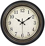 Cheap 45Min 14-Inch Round Classic Clock, Silent Non-Ticking Retro Quartz Decorative Wall Clock (Black-Gold)