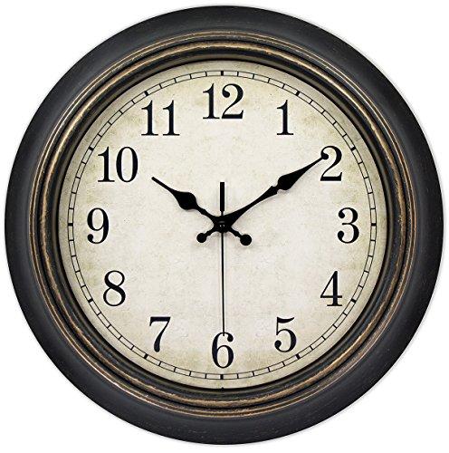 45Min 14-Inch Round Classic Clock, Silent Non-Ticking Retro Quartz Decorative Wall Clock (Black-Gold) ()