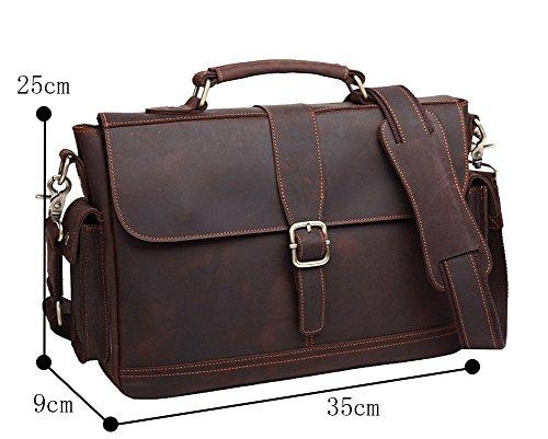 Genda 2Archer Castual Bolsa de Hombre de Cuero, Handbg, Bolso de Hombro (35cm * 25cm * 9cm)