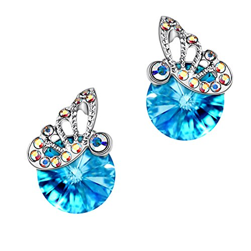 STAR SANDS Butterfly Kisses Crystal Earring Stud With Round Shaped Crystals Swarovski, Aquamarine (Aqua Butterfly Kisses)