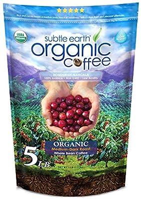 5LB Cafe Don Pablo Subtle Earth Organic Gourmet Coffee - Medium Dark Roast - Whole Bean Coffee - USDA Organic Certified Arabica Coffee by CCOF - (5 lb) Bag
