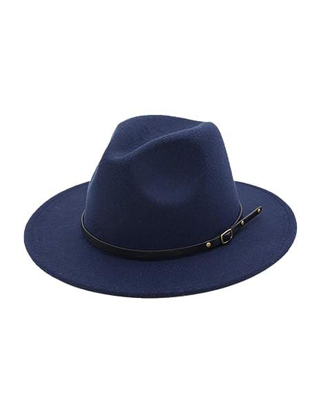 BESBOMIG Sombreros de Sombrerera de Jazz para Hombres Mujer - Sombrero de  ala Ancha Fieltro de Lana  Amazon.es  Ropa y accesorios ed4a8a9b28cc