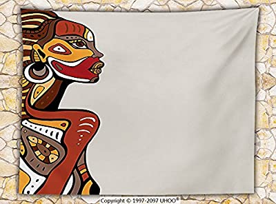 African Decorations Fleece Throw Blanket Profile of Sexy African Lady with Different Tattoos on Her Body and Face Stylish Print Throw