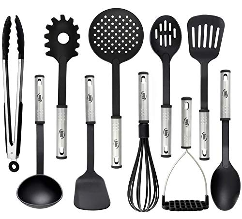 Cooking Utensils - 10 Nylon Stainless Steel Kitchen Supplies - Non-Stick and Heat Resistant Cookware set - New Chef's Gadget Tools Collection - Great Silicone Spatula - Best Holiday Gift Idea.