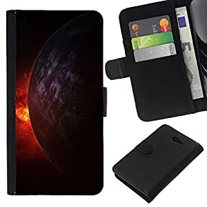 KingStore / Leather Etui en cuir / Sony Xperia M2 / Fuego Universo Planet Burning Cosmos Doomsday