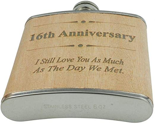 Amazon Com 16th Anniversary Hip Flask 16 Year Anniversary Gift For Him Flasks