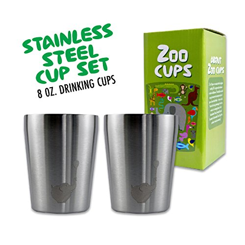 Zoo Cups Stainless Steel Cup Set for Kids, 2 Double Wall Insulated 8 oz Cups, BPA Free Small Drinking Cups for Children or Toddlers