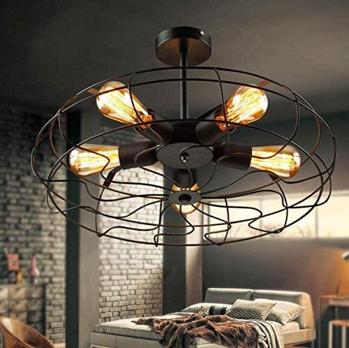 Retro Industrial Wind Ceiling Lamp Cafe Fan Ceiling Lamp Creative Personality Restaurant Bar Internet Cafe Iron Lamp-48cm