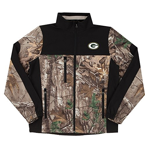 NFL Green Bay Packers Hunter Colorblocked Softshell Jacket, Real Tree Camouflage, (Green Bay Packers Coat)