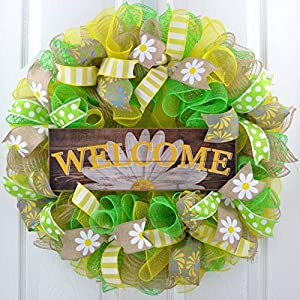 Daisy Wreath | Spring Flower Everyday Deco Mesh Door Wreath | Burlap Yellow White Green 65
