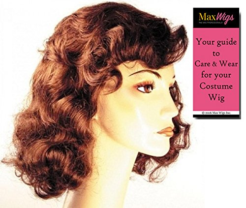 Star Hollywood Wig (1940s Vamp Bette Davis Color Auburn - Lacey Wigs Women's Hollywood Forties Movie Star Bundle with MaxWigs Costume Wig Care)