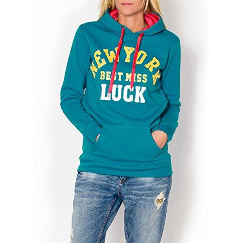 Fashion Mujer Sudadera Sudadera Capucha bolsillo canguro con Statement Print, otros colores Azul