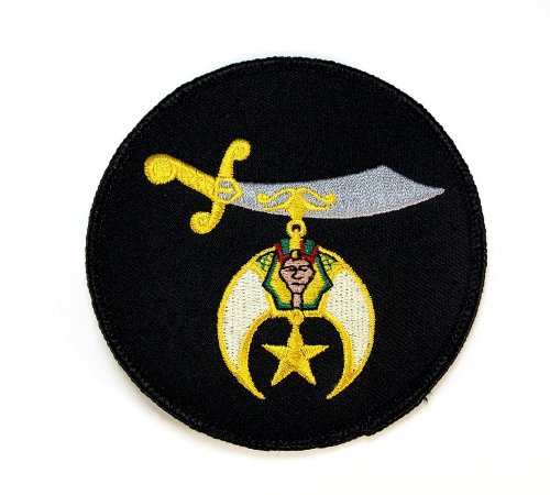 Shrine Scimitar Black Masonic Embroidered Patch Iron Sew PWPM5031