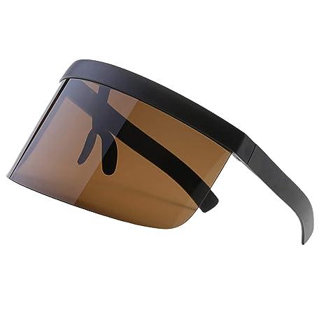 2a2c81bb020746 VORCOOL Lunettes de Soleil surdimensionnées Futuristic Shield Visor Flat  Top Mirrored Unisexe Protection Solaire Coupe-