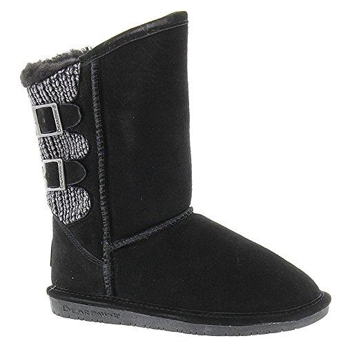Bearpaw Boshie Girls' Toddler-Youth Boot 1 M US Little Kid Black-Suede (Footwear Black Youth)
