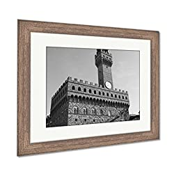 Ashley Framed Prints Florence Old Palace, Wall Art Home Decoration, Black/White, 26x30 (frame size), Rustic Barn Wood Frame, AG5586106