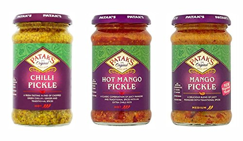 Pataks Pickle Combo Pack - Pataks Mango Pickle 283g - Pataks Chilli Pickle 283g - Pataks Hot Mango Pickle 283g (3 Pack)